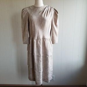 1980s Leslie Fay Tan, Poly Dress